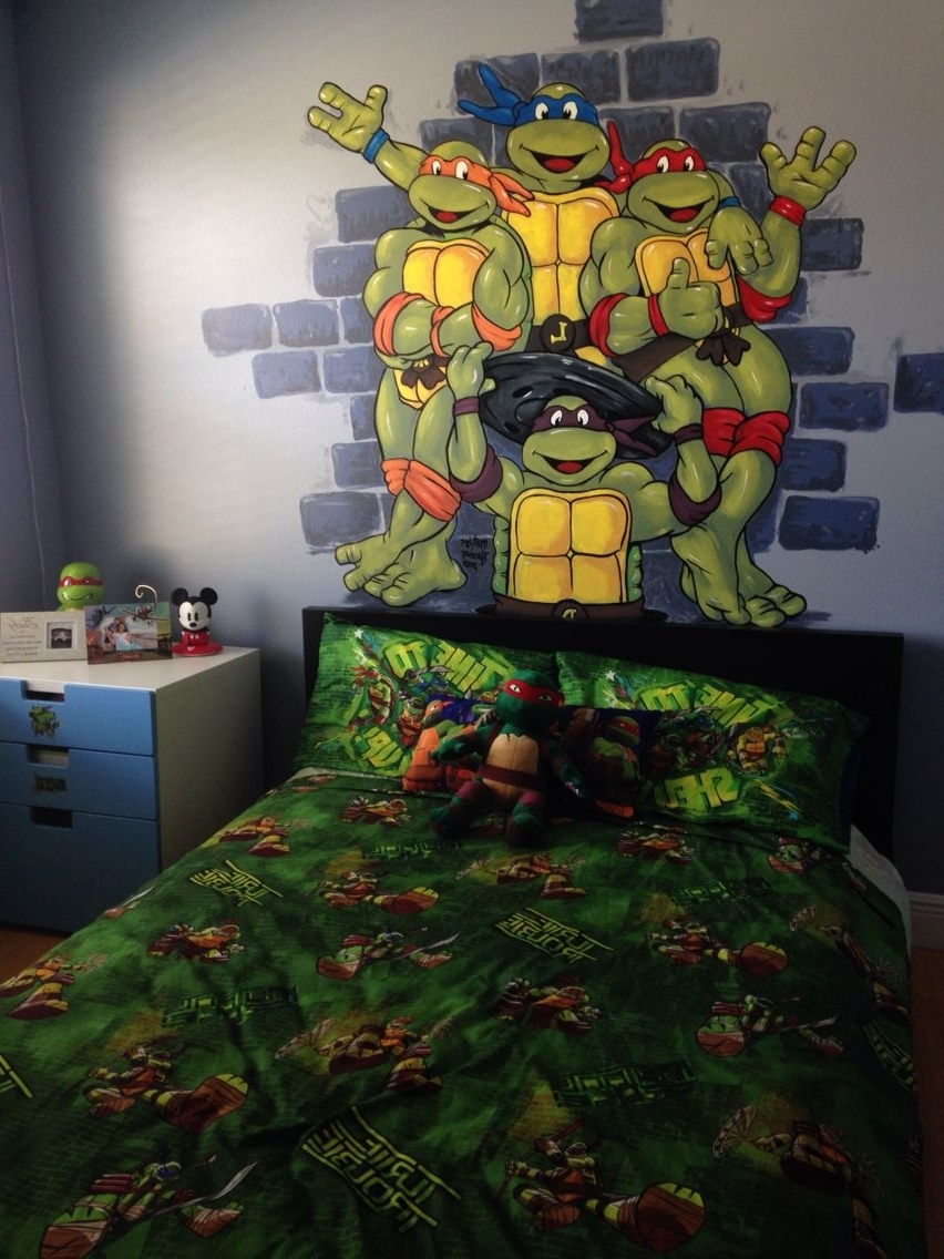 Fashionable Tmnt Hand Painted Wall Mural Boy Room Toddler Preschool Ninja In Tmnt Wall Art (View 2 of 15)