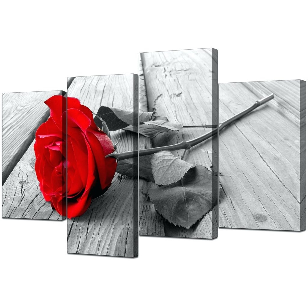 Fashionable Wall Arts ~ Black And White Floral Canvas Wall Art Black And White Within Red And Black Canvas Wall Art (View 4 of 15)