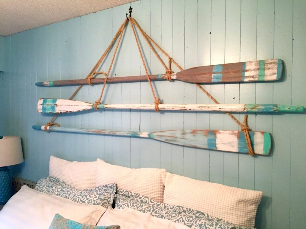 Fashionable Wall Arts ~ Metal Wall Art Beach Decor Vintage Oar Paddle In Beach  Themed Wall