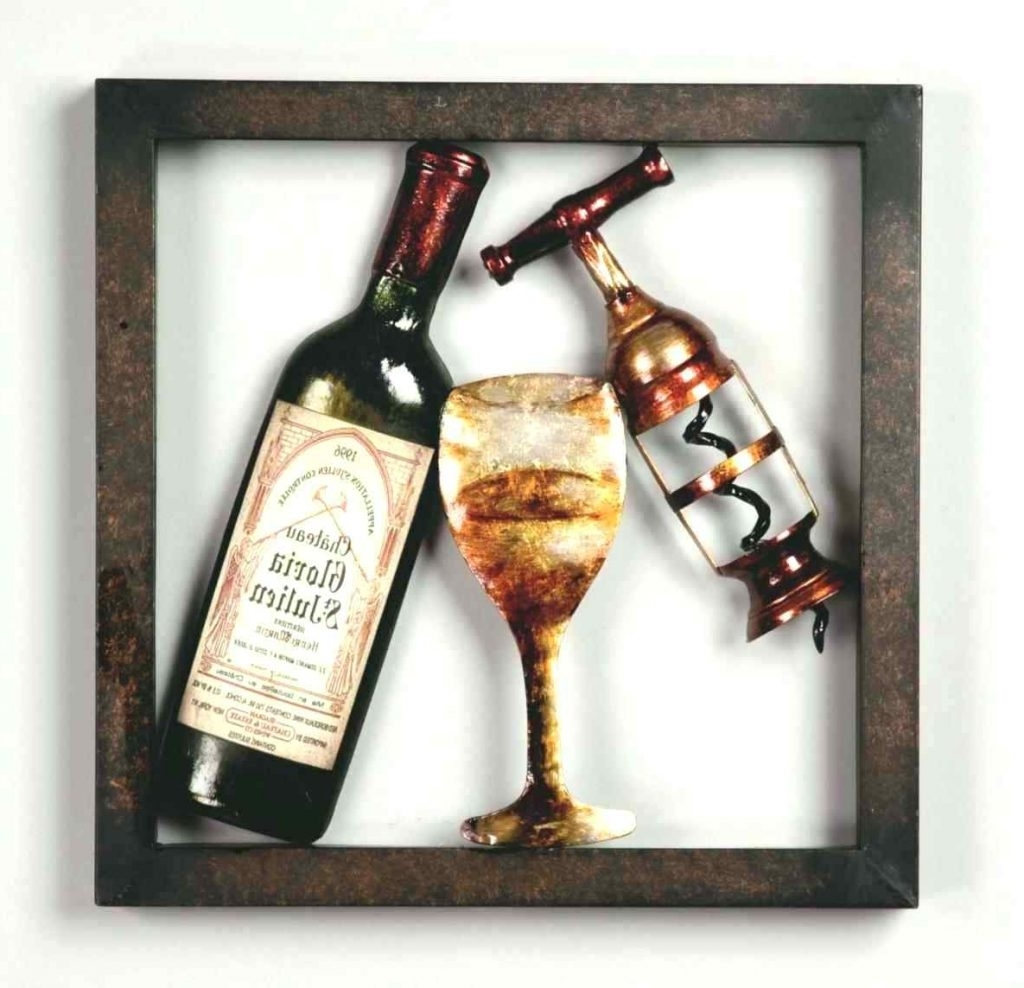 Fashionable Wine Metal Wall Art Pertaining To Wall Arts ~ Wine Bottles Metal Wine Glass Wall Art Cork Diy Best (View 4 of 15)