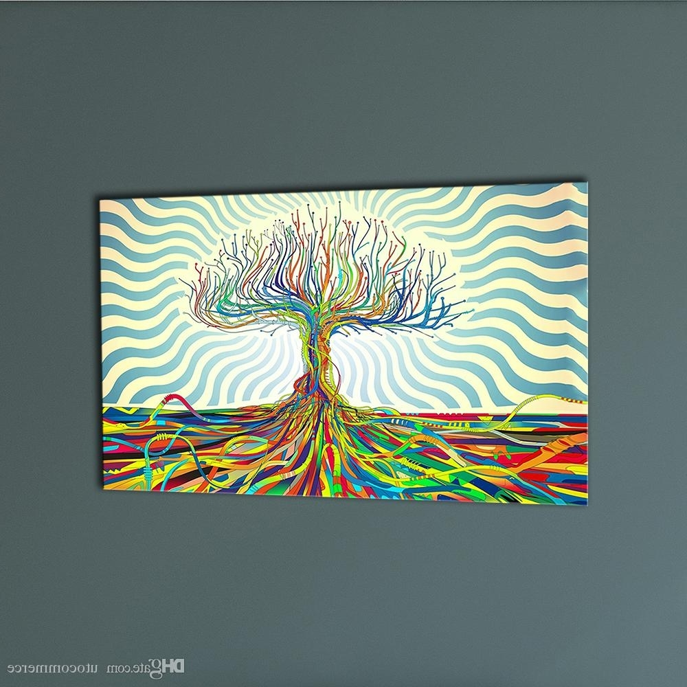 Favorite 2018 Colourful Trees Trunks Canvas Painting Abstract Wall Art Inside Colourful Abstract Wall Art (View 9 of 15)