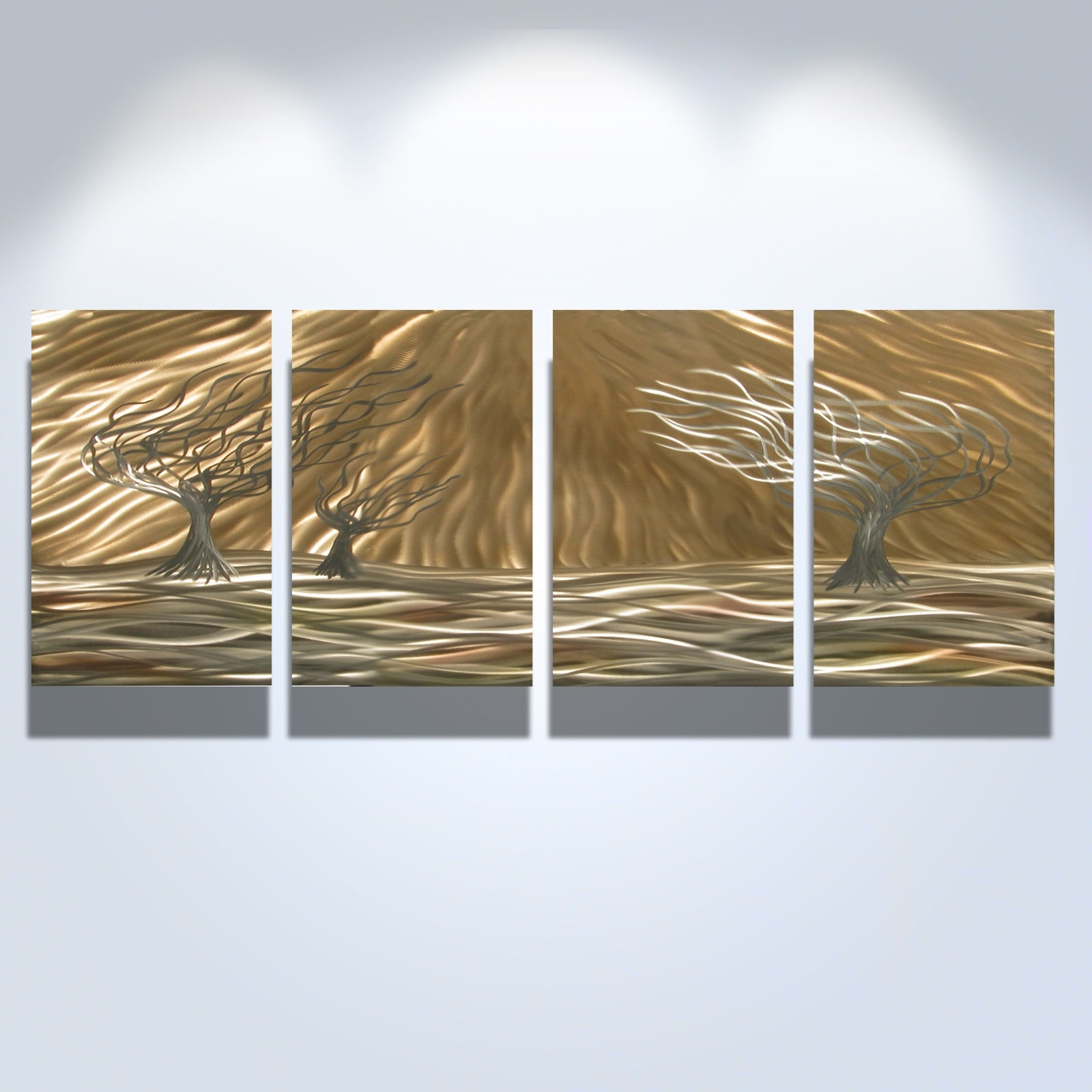 Favorite 3 Trees 4 Panel – Abstract Metal Wall Art Contemporary Modern Pertaining To Abstract Wall Art (View 7 of 15)