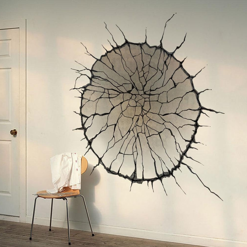 Favorite 3D Visual Wall Art With 3D Cracked Wall Art Mural Decor Spider Web Wallpaper Decal Poster (View 8 of 15)