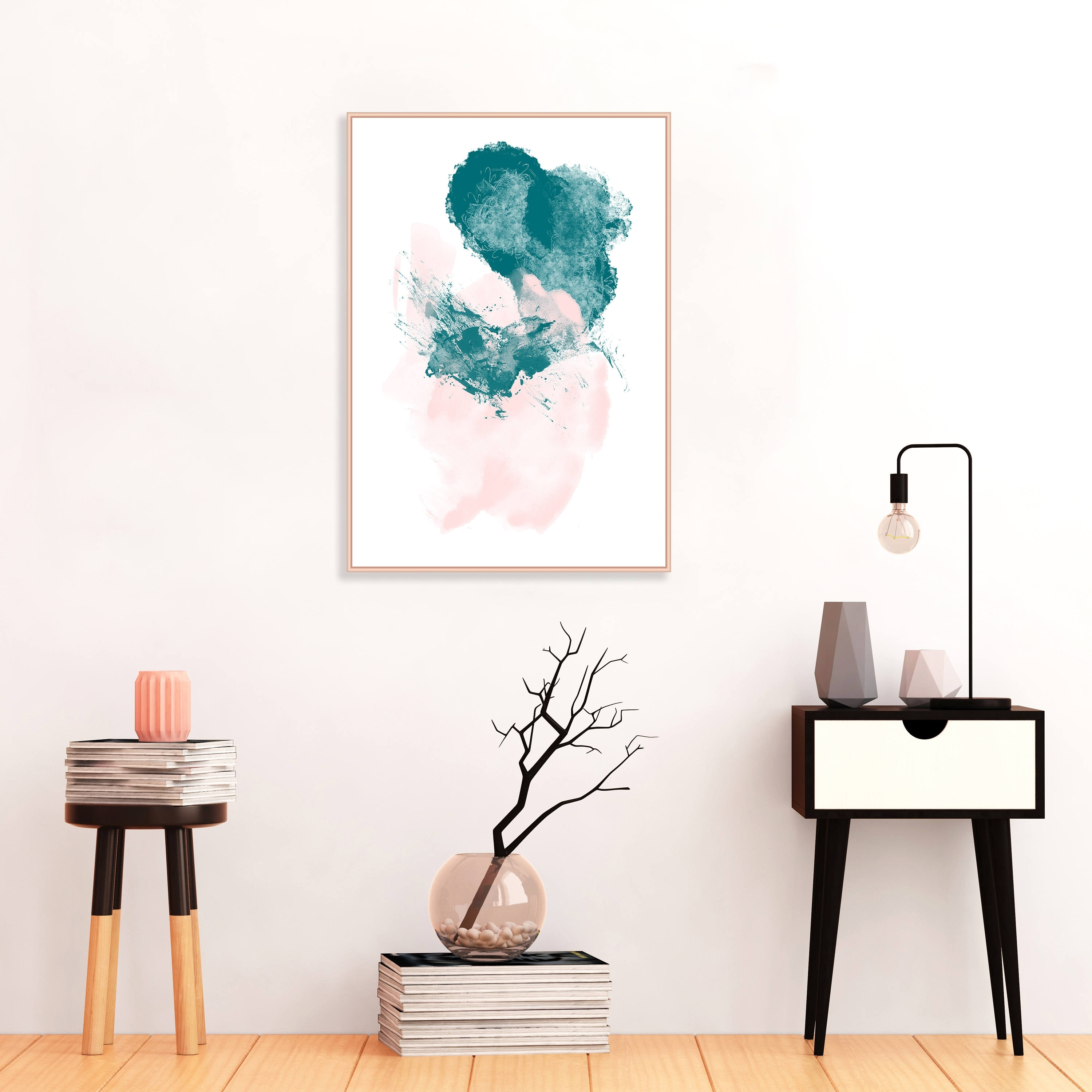 Favorite Abstract Painting, Pink And Teal Abstract Art, Minimalist Painting Regarding Affordable Abstract Wall Art (View 9 of 15)
