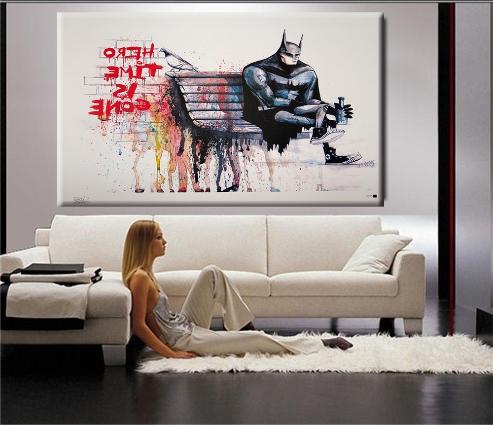 Favorite Banksy Hero Time Is Gone Canvas Art Print Home Huge Canvas For Huge Wall Art (View 5 of 15)