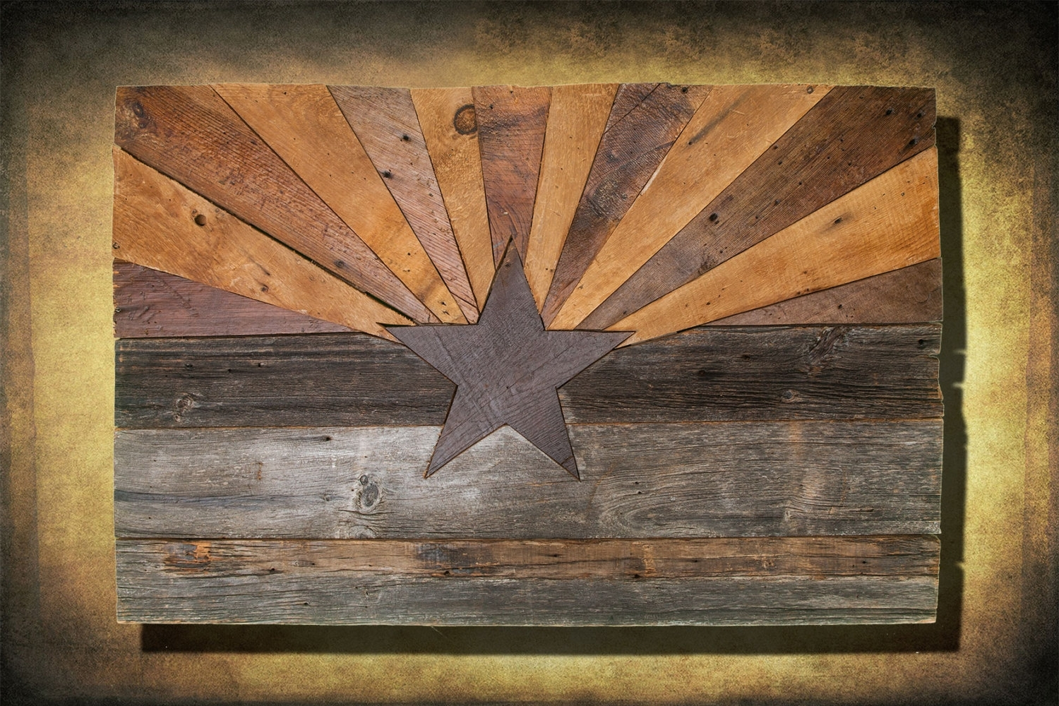 Favorite Barn Wood Arizona Flag, Handmade, Distressed Natural Wood, Vintage Intended For Natural Wood Wall Art (View 2 of 15)