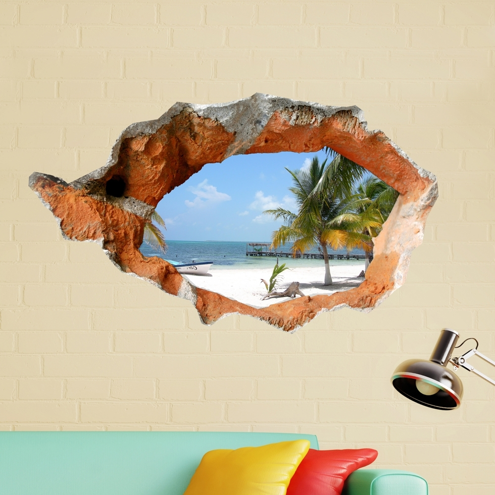 Favorite Beach 3d Wall Art Intended For 3d Beach Wall Decals 38 Inch Removable Sea Wall Art Stickers Home (View 3 of 15)