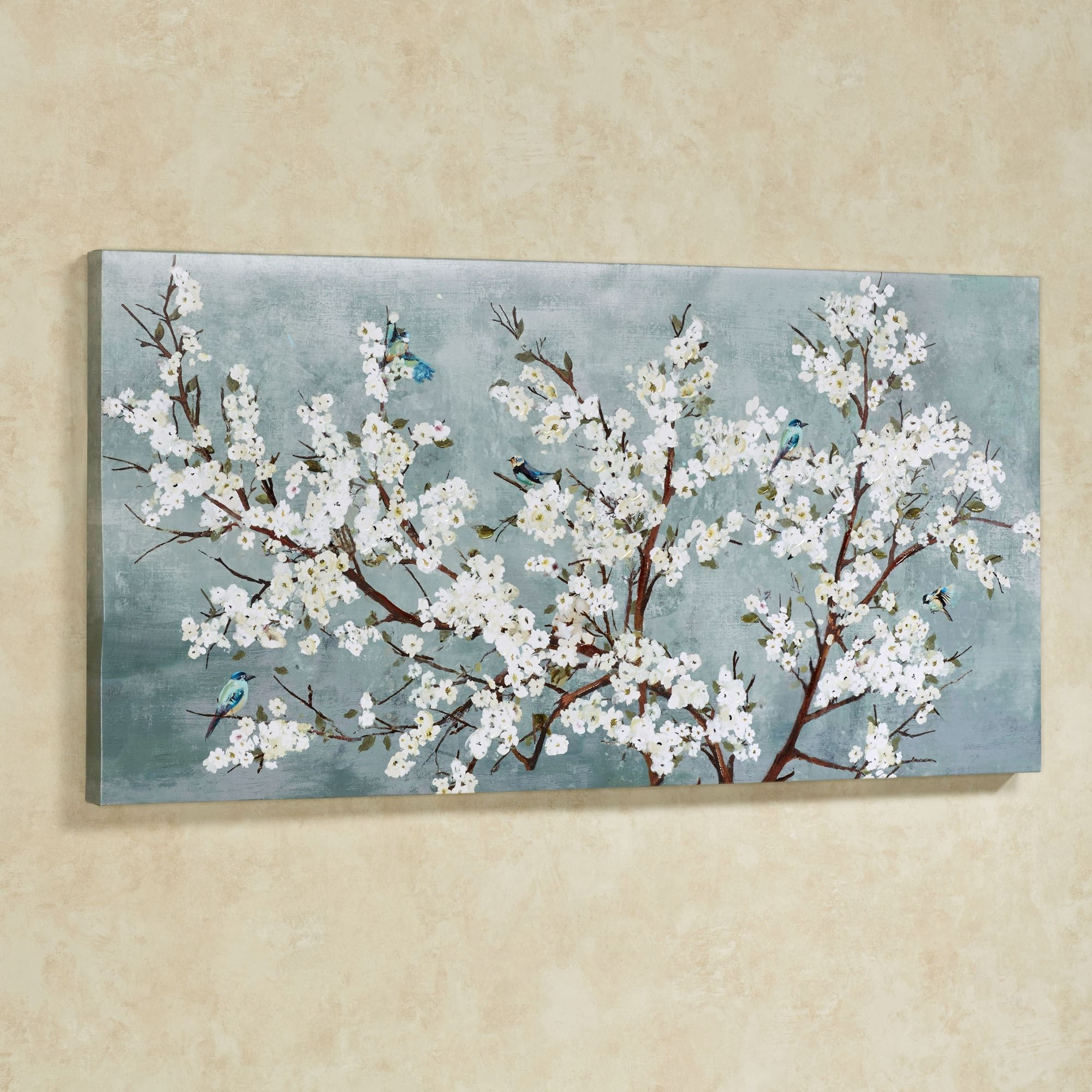 Favorite Blue And White Wall Art Inside Blissful Branches Floral Canvas Wall Art (View 9 of 15)