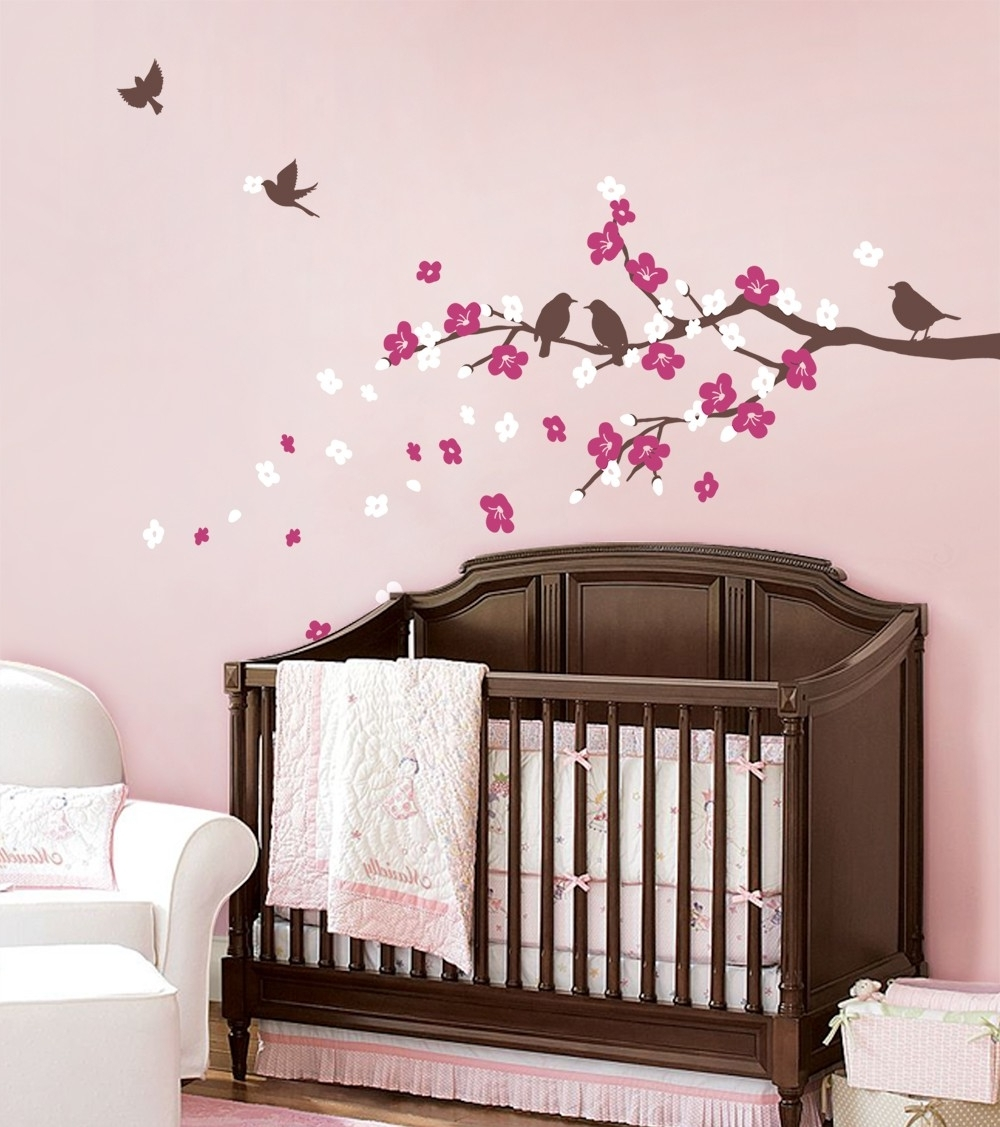 Favorite Cherry Blossom Vinyl Wall Art For Cherry Blossom Branch With Birds Decal (View 8 of 15)