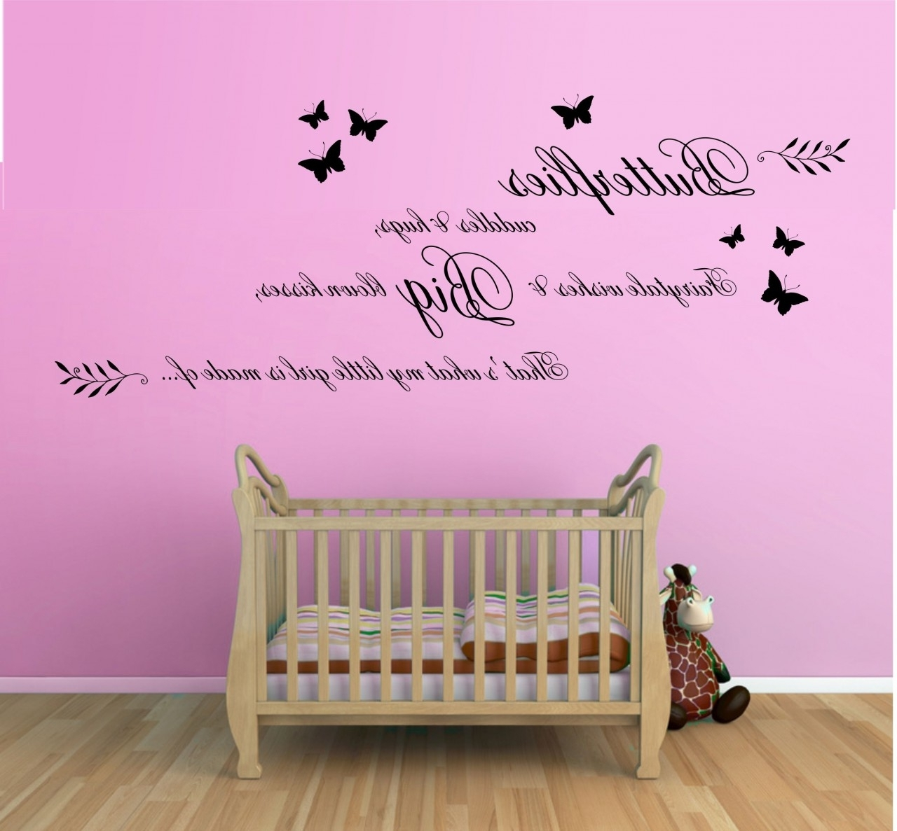 Favorite Decoration Ideas: Epic Picture Of 3D Black And Pink Butterfly Wall Inside Pink Butterfly Wall Art (View 4 of 15)