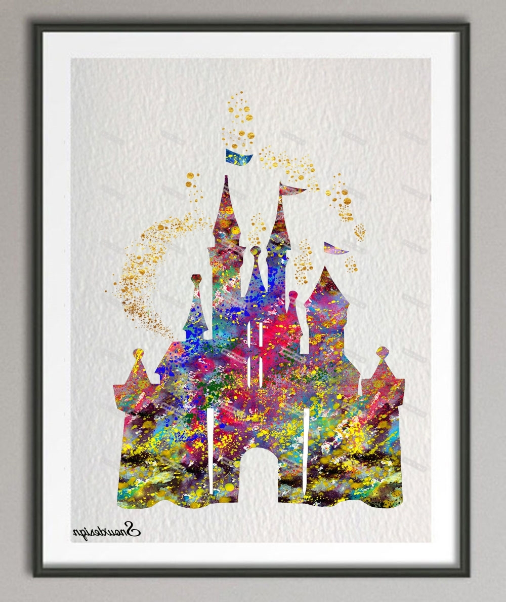 Favorite Disney Canvas Wall Art Within Diy Original Watercolor Princess Cinderella Castle Canvas Painting (View 14 of 15)