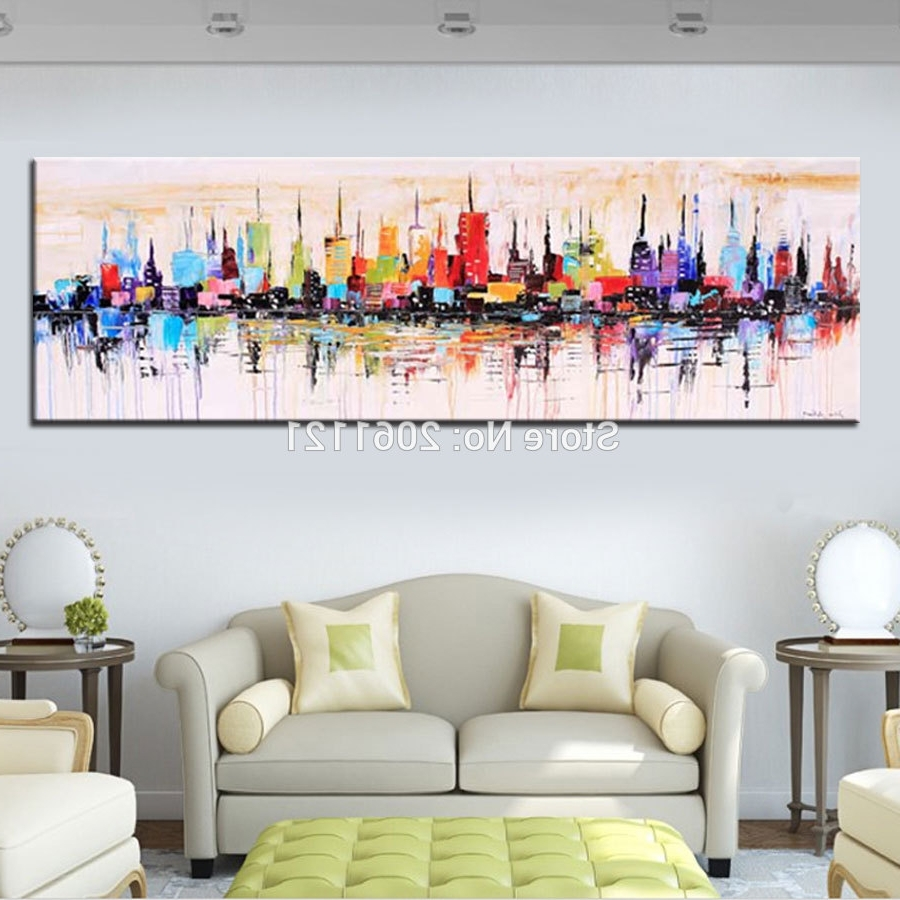 Favorite Fashion Modern Living Room Decorative Oil Painting Handpainted Regarding Long Abstract Wall Art (View 2 of 15)
