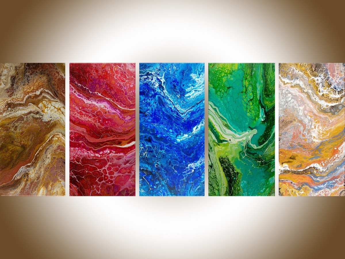 """Favorite Five Elementsqiqigallery 50"""" X 20"""" Feng Shui Art Abstract Regarding Elements Wall Art (View 4 of 15)"""
