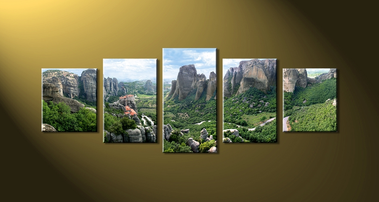 Favorite Five Piece Wall Art Inside Landscape Canvas Art 5 Piece Green Mountain 1 Painting Bedroom (View 6 of 15)