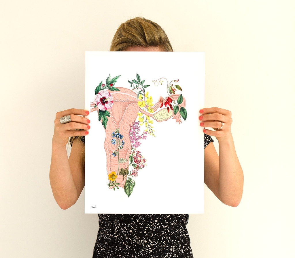 Favorite Flowery Uterus Collage  Woman Gift – Feminist Art  Wall Decor Art Throughout Feminist Wall Art (View 1 of 15)