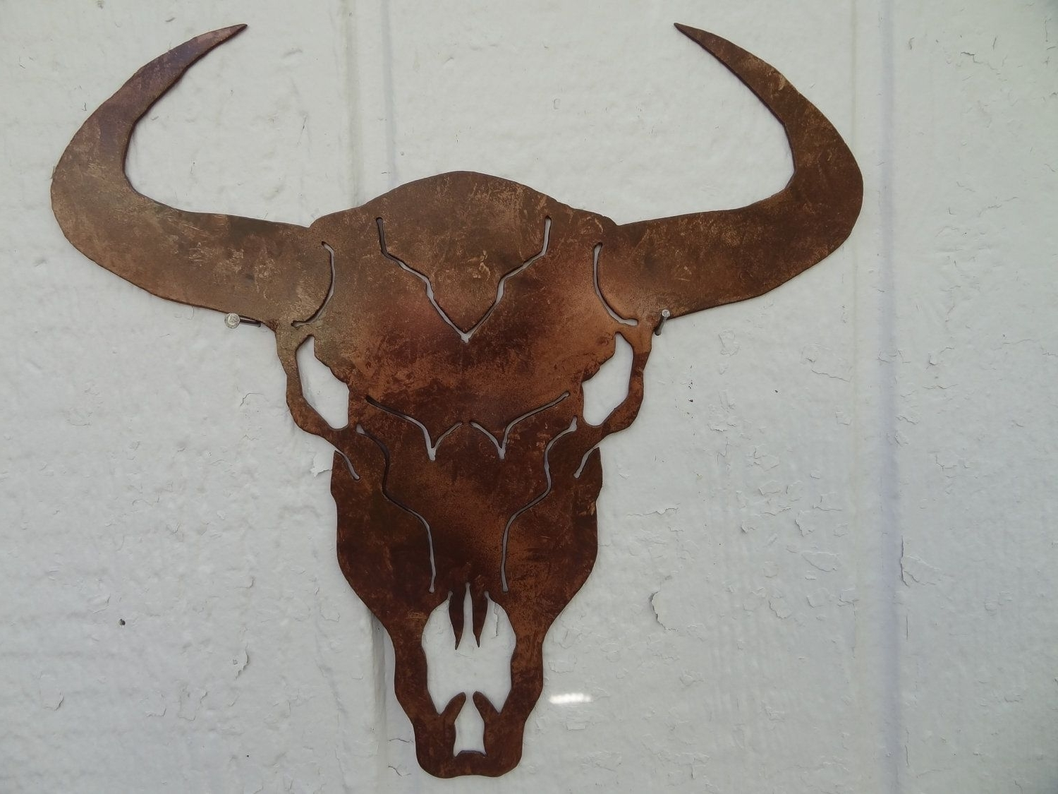 "Favorite Hand Made Cow Skull Solid Metal Wall Art 25"" W X 25""l Antique For Country Metal Wall Art (View 4 of 15)"