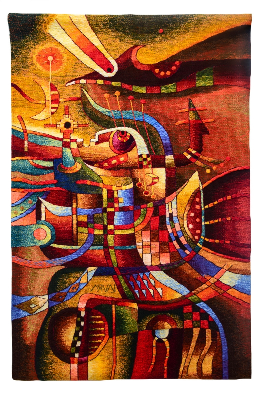 Favorite Handwoven Peruvian Tapestry, Sacred Night, Blue, Orange, Vertical Throughout Peruvian Wall Art (View 3 of 15)