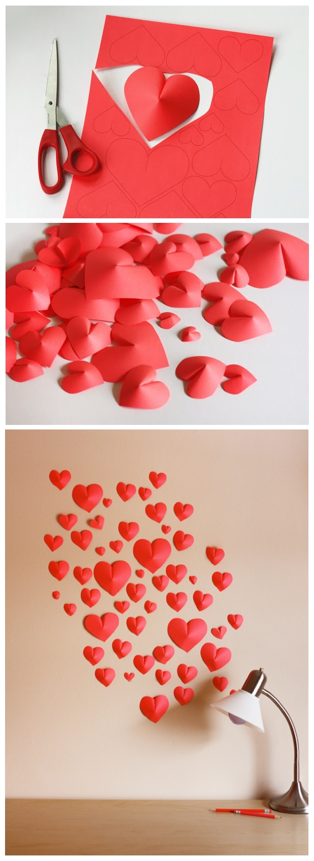 Favorite Heart 3D Wall Art Within Make A Wall Of Simple Paper Origami Hearts (View 5 of 15)