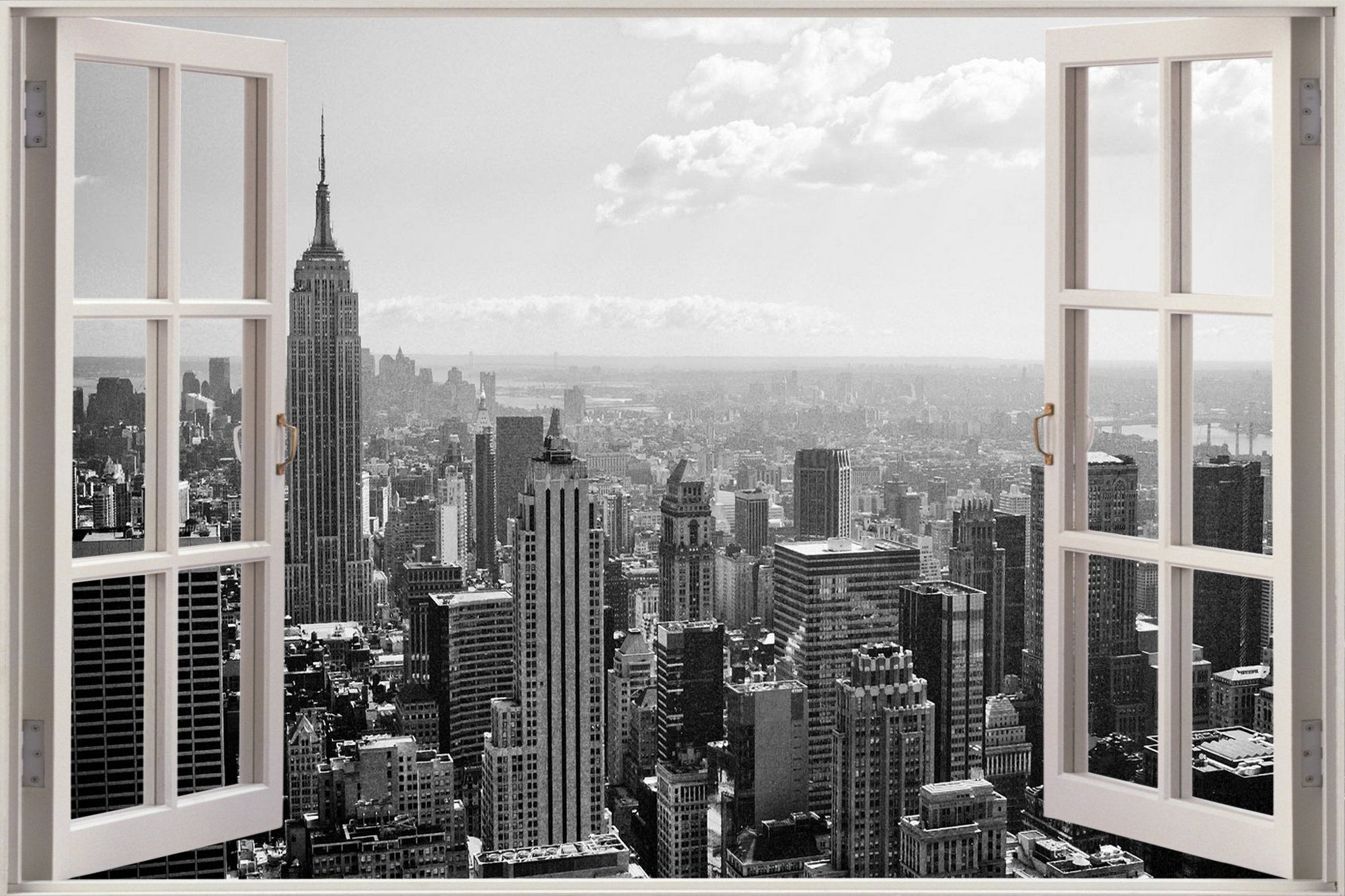Favorite Huge 3D Window New York City View Wall Stickers Mural Film Art With New York City Wall Art (View 3 of 15)