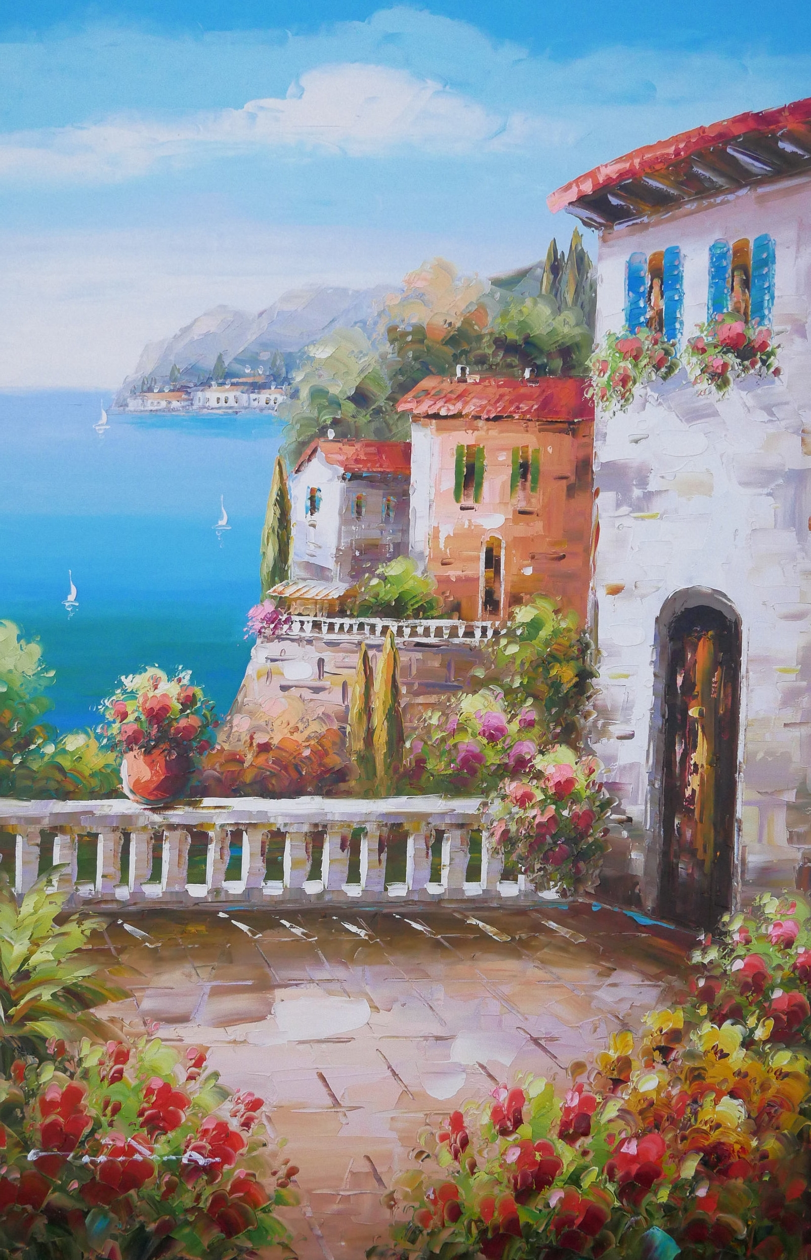 Favorite Italian Art Amalfi Coast Painting Handmade Oil On Canvas Wall Art Within Italian Coast Wall Art (View 9 of 15)
