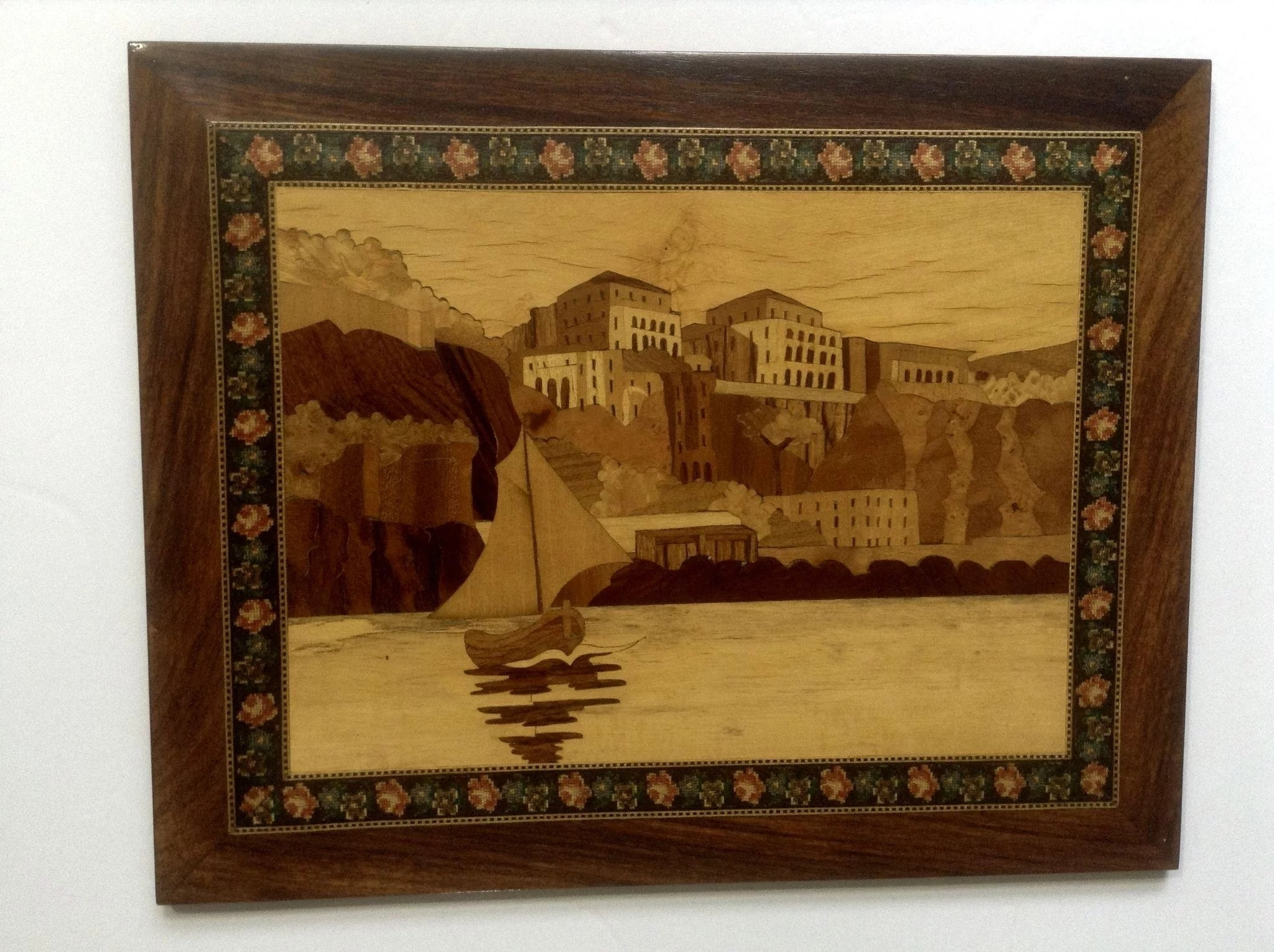 Favorite Italian Inlaid Wood Wall Art Inside Rare Italian Coastal Scenes Intarsia Marquetry Inlaid Wood Coastal (View 3 of 15)