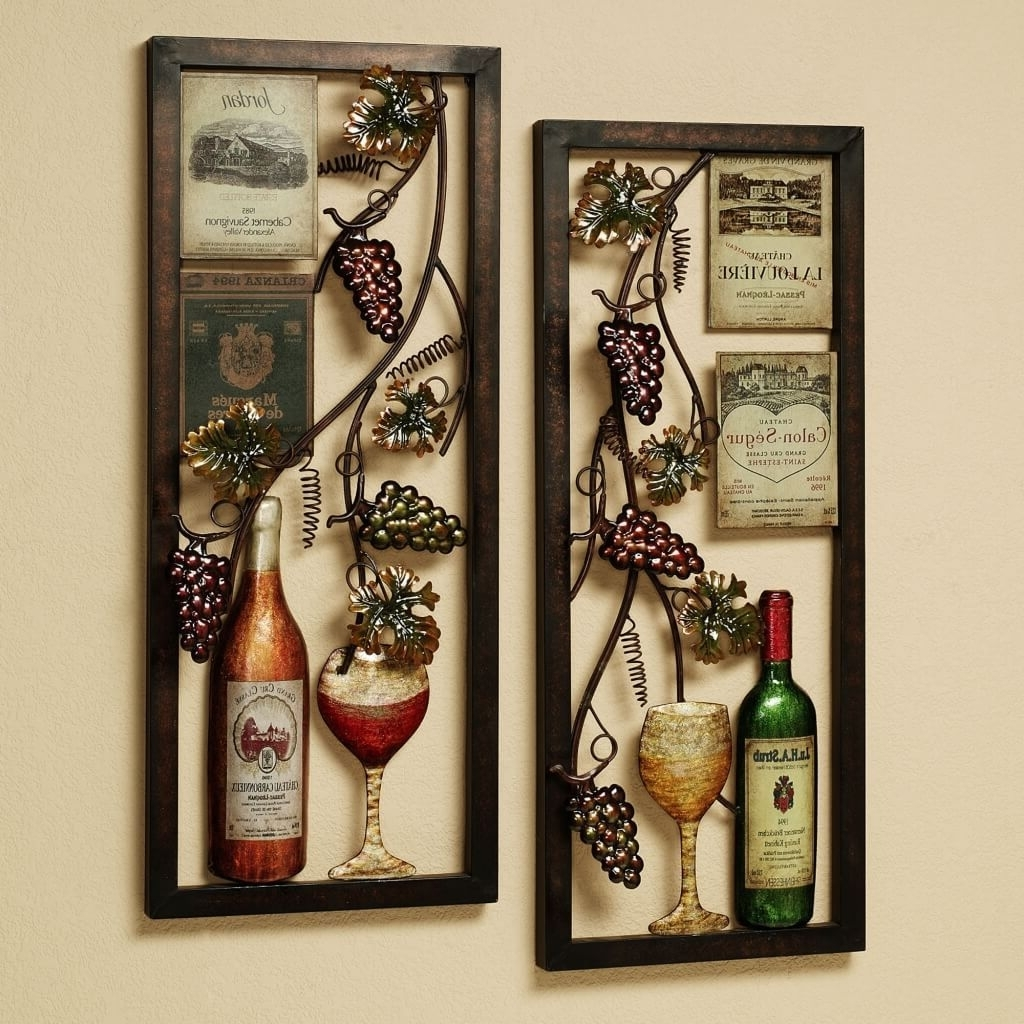 Favorite Kitchen: Vintage Metal Grape And White Art Frames For Kitchen Wall Pertaining To Wine And Grape Wall Art (View 2 of 15)