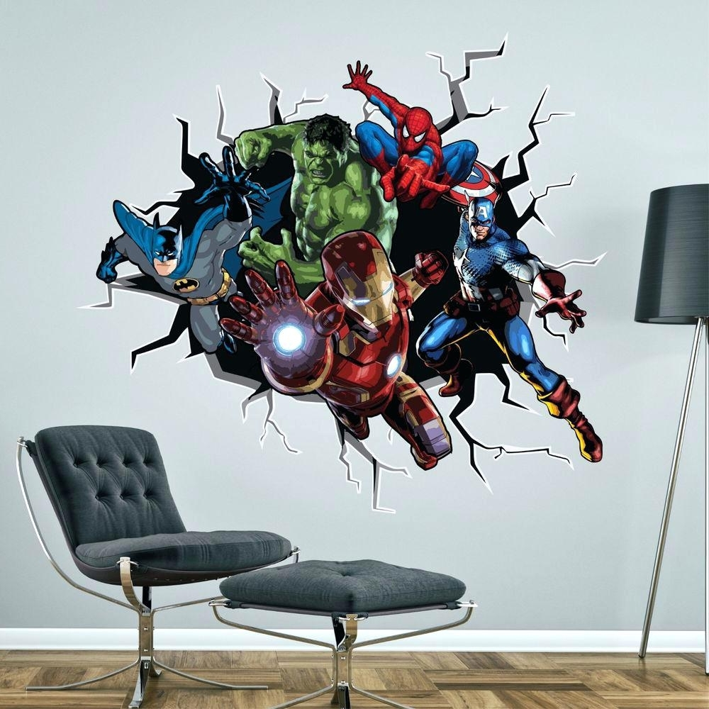 Favorite Marvel Heroes Wall Decals – Gutesleben Within Superhero Wall Art Stickers (View 6 of 15)
