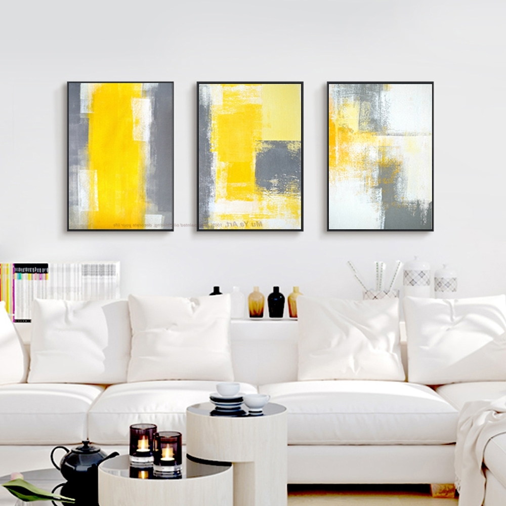 Favorite Muya 3 Piece Canvas Painting Abstract Oil Painting Handmade Bright Intended For Yellow Grey Wall Art (View 2 of 15)