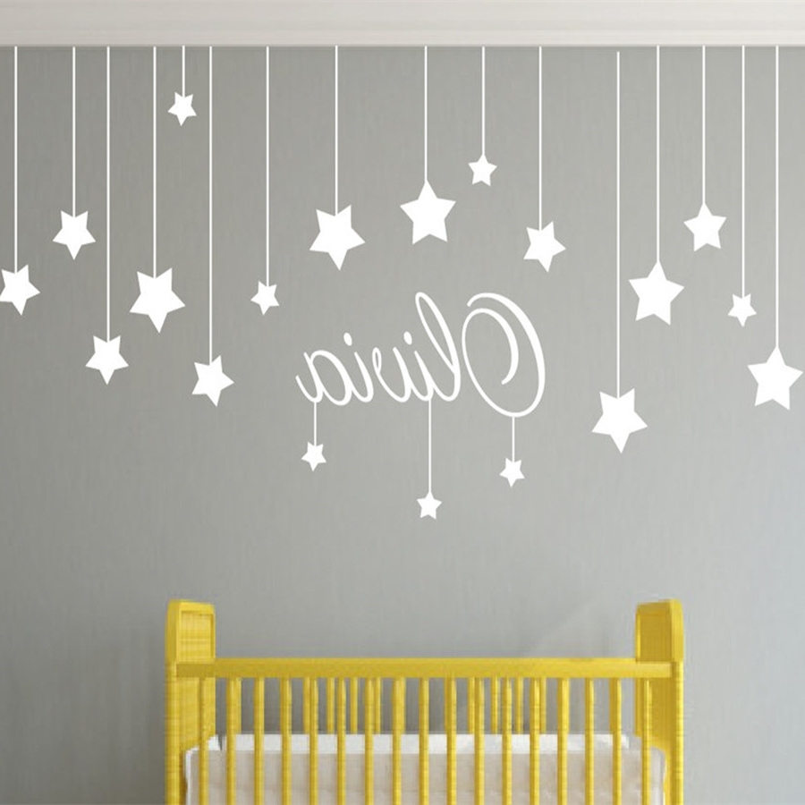 Favorite Name Custom Stars And Moon Childrens Wall Art Nursery Baby Decor Within Baby Name Wall Art (View 10 of 15)