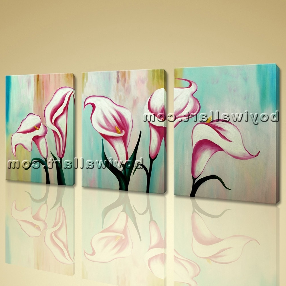 Favorite Original Abstract Floral Painting Print Lily Flower On Canvas Wall Art In Abstract Floral Canvas Wall Art (View 7 of 15)