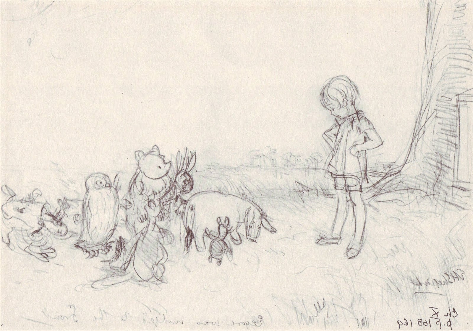 Favorite Original Art Stories: Winnie The Pooh Pencil Sketches For Classic Pooh Art (View 7 of 15)