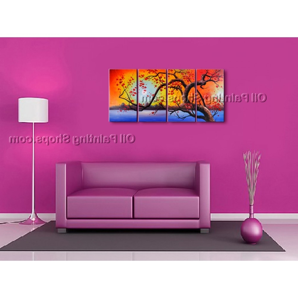 Favorite Plum Wall Art With Regard To 4 Pieces Contemporary Wall Art Floral Painting Plum Blossom Inner (View 7 of 15)