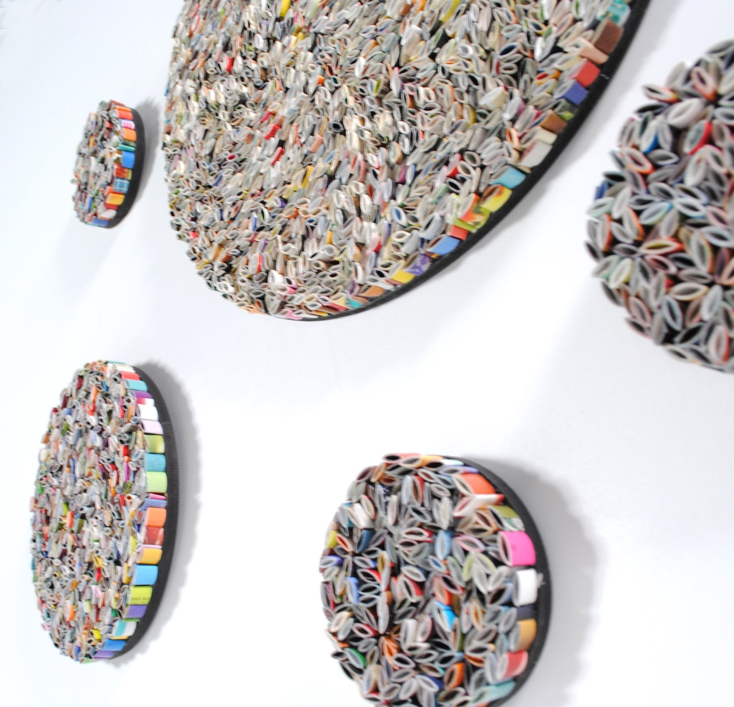 Favorite Set Of 5 Round Wall Art  Made From Recycled Magazines, Colorful Pertaining To Recycled Wall Art (View 4 of 15)