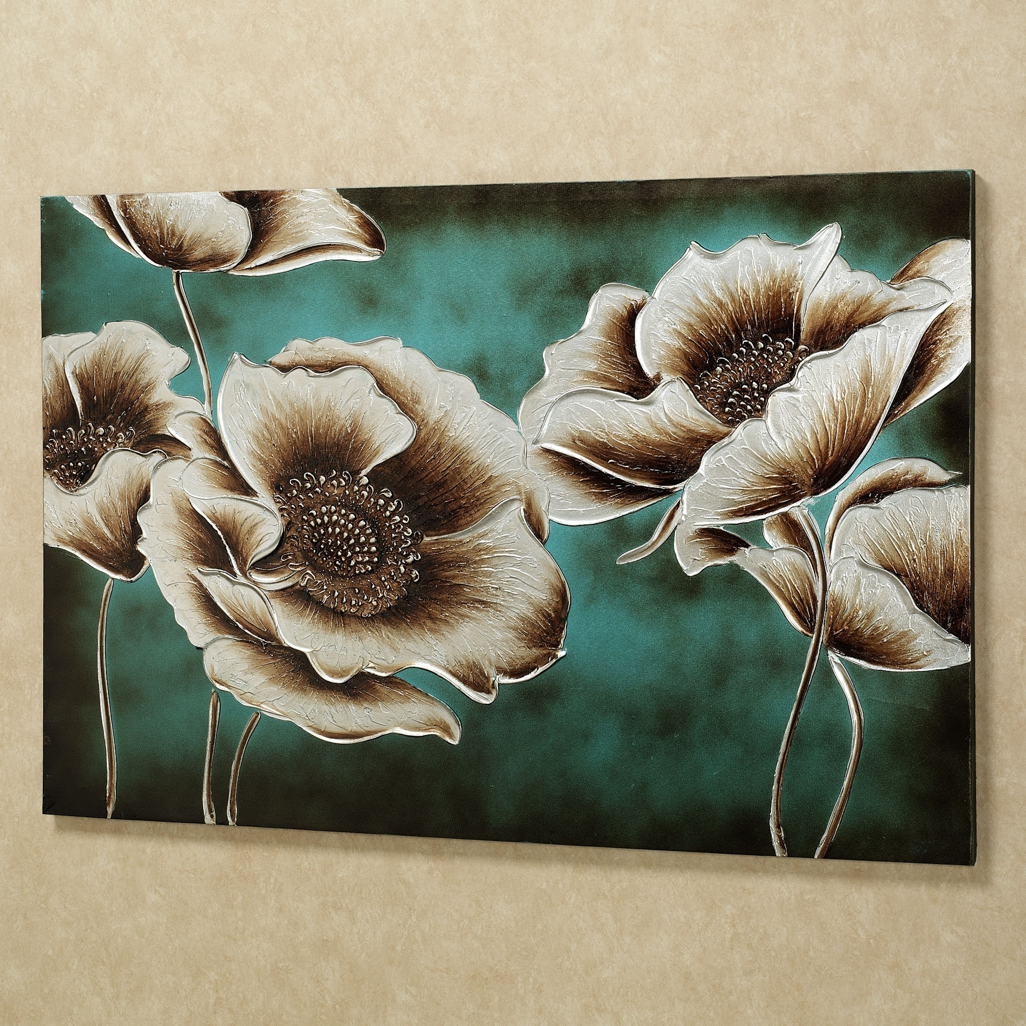 Favorite Teal And Brown Wall Art With Jardin De Pavot Poppy Flower Canvas Wall Art (View 4 of 15)