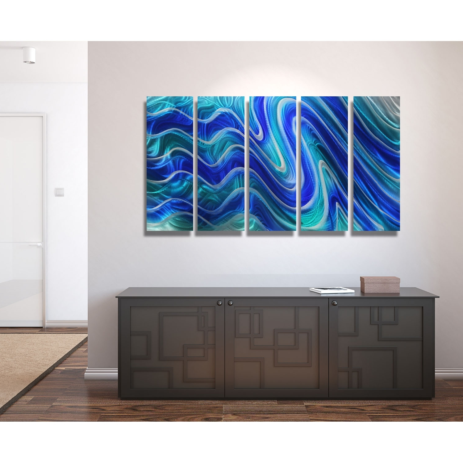 Favorite Teal Metal Wall Art Intended For Paradise Plunge – Blue, Teal And Silver Metal Wall Art – 5 Panel (View 3 of 15)