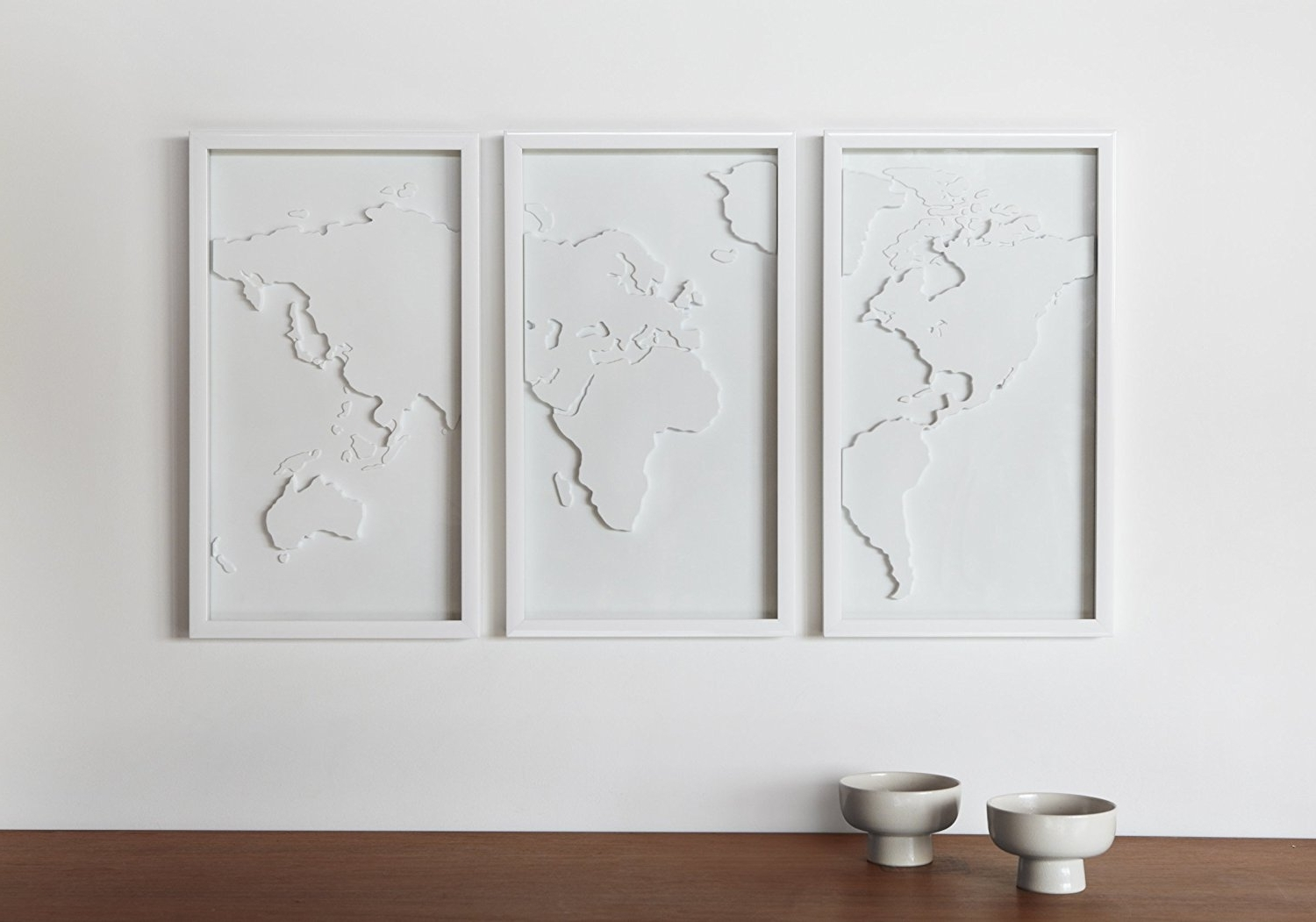 Favorite Umbra 3D Wall Art Within Amazon: Umbra Mapster Framed Wall Art, Set Of 3: Home & Kitchen (View 3 of 15)