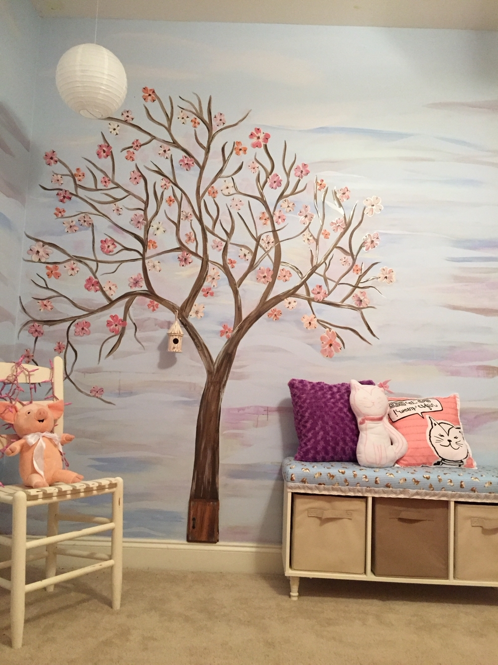 Favorite Wall Art Tree Mural, Hand Painted Tree Mural, Diy Bench, Girls Intended For Painted Trees Wall Art (View 6 of 15)