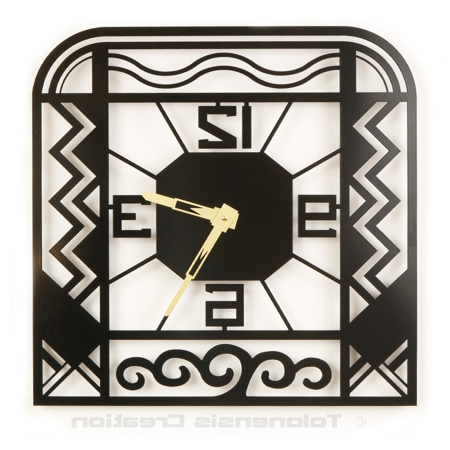 Favorite Wall Clock Art Deco Charleston – Wall Clocks Delorentis Pertaining To Large Art Deco Wall Clocks (View 5 of 15)