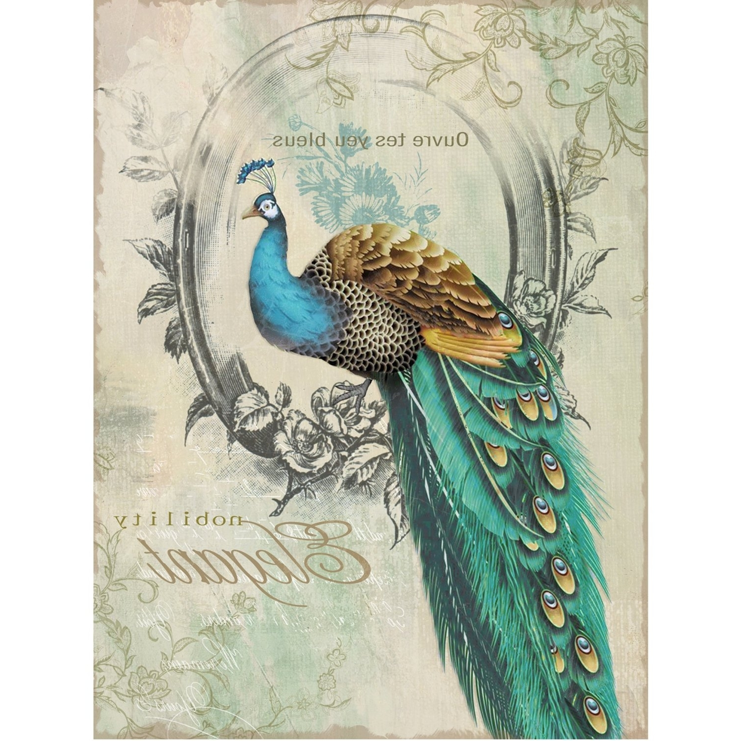 Favorite Yosemite Home Decor Yfsparrowl Peacock Poise I Animal Portrait With Jeweled Peacock Wall Art (View 3 of 15)