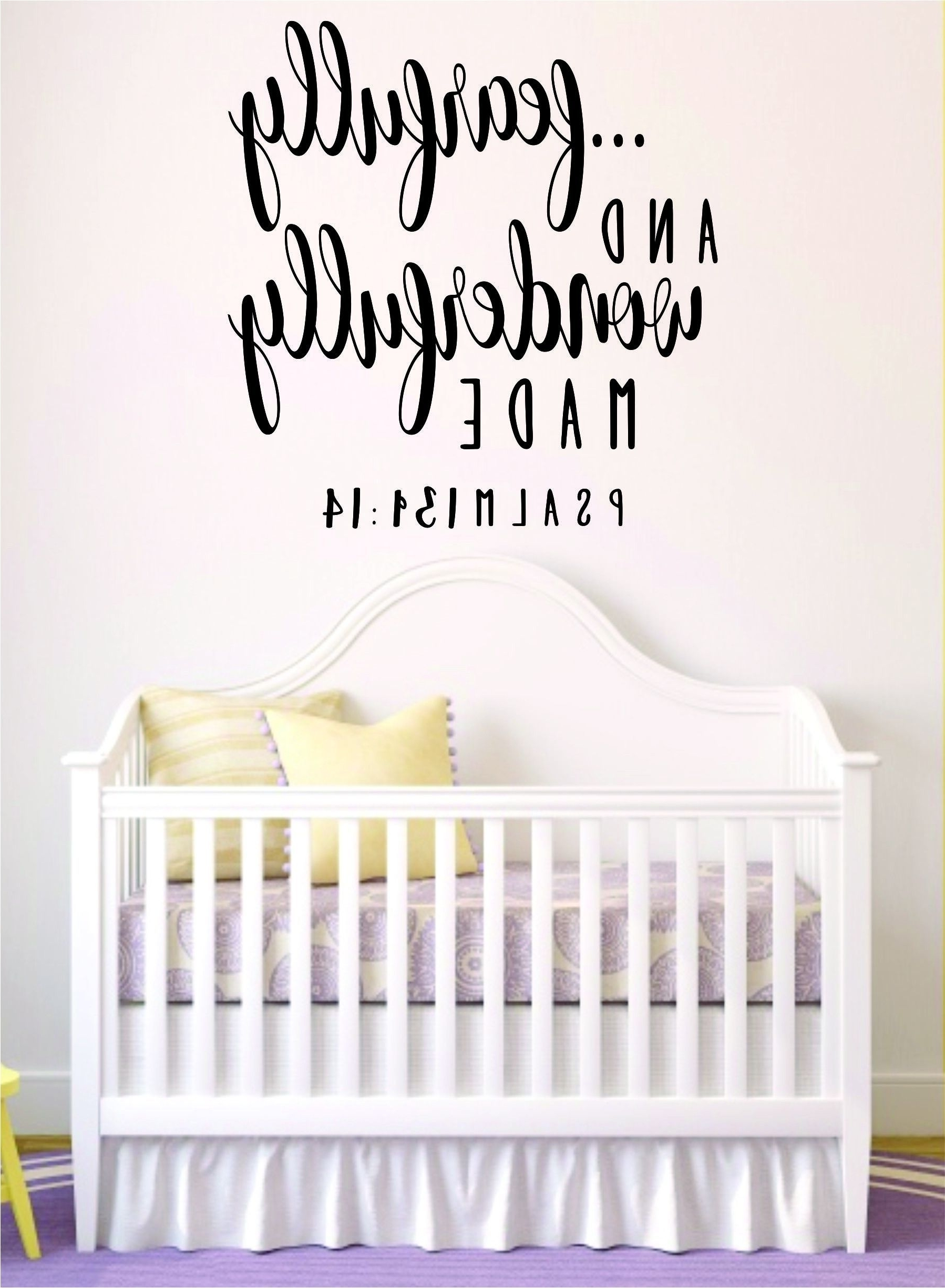 Fearfully And Wonderfully Made Quote Wall Decal Sticker Bedroom In Recent Nursery Bible Verses Wall Decals (View 6 of 15)