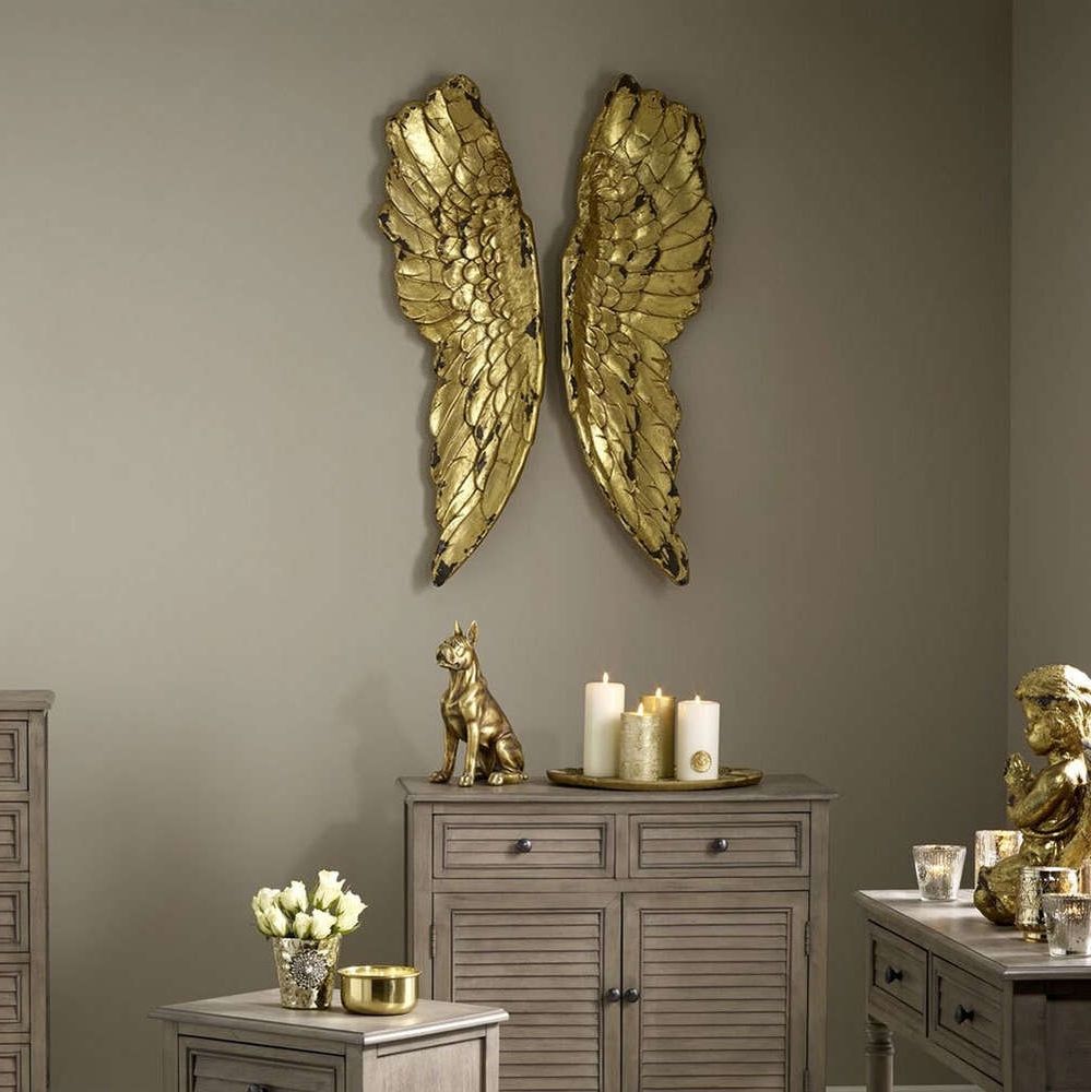 Feather Wall Decor – Candle And Blue Throughout Angel Wings Wall Art (View 7 of 15)