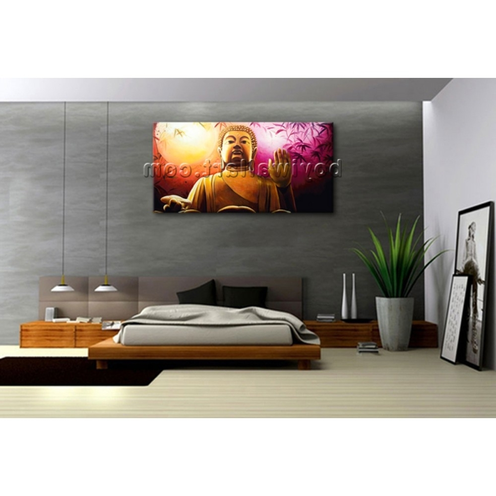 Feng Shui Wall Art Inside Trendy Huge Abstract Feng Shui Painting Print Canvas Wall Art Buddha (View 3 of 15)