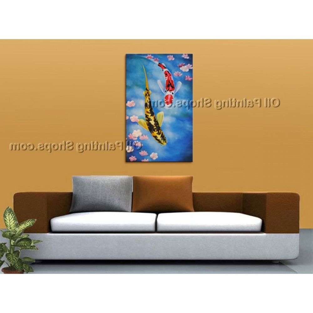 Feng Shui Wall Art With Famous Elegant Feng Shui Zen Art Contemporary Painting Koi Fish Oil On Canvas (View 10 of 15)
