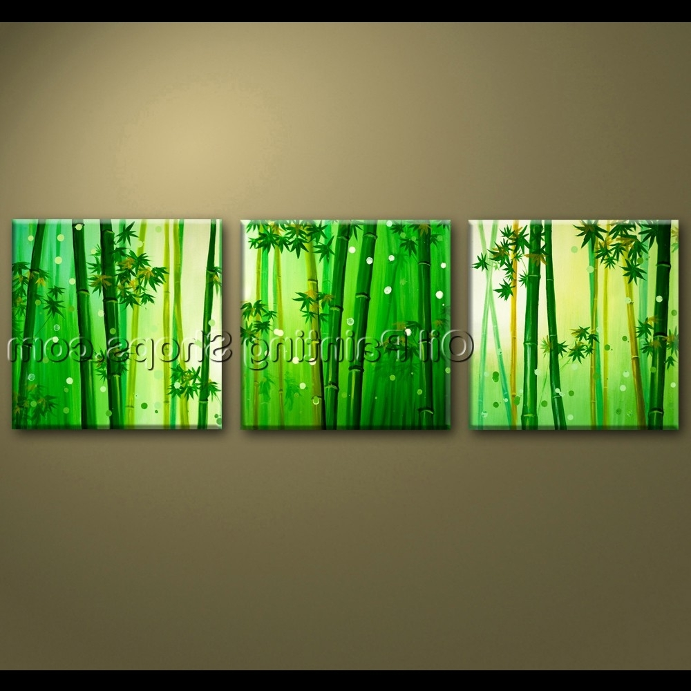 Feng Shui Wall Art With Regard To Popular Large Wall Art Oil Painting Canvas Bamboo Feng Shui Artworks Hand (View 4 of 15)
