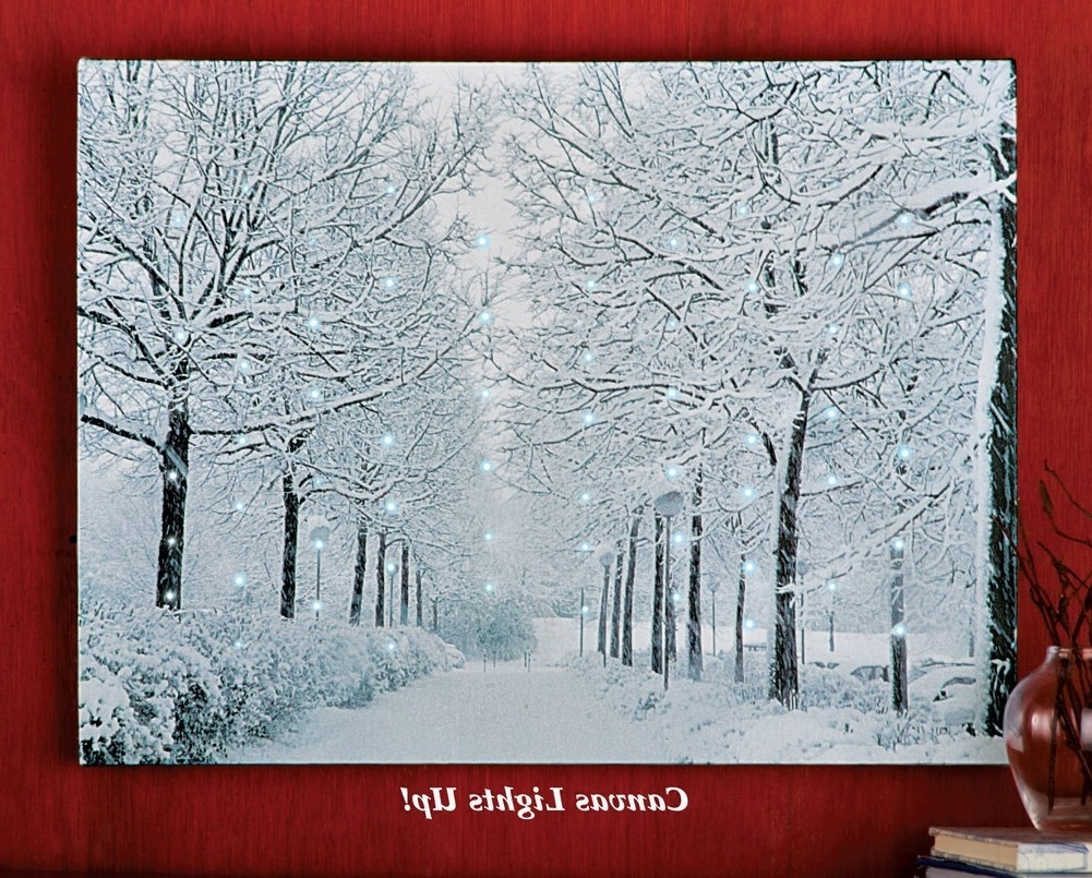 Fiber Optic Wall Art Regarding Well Known Amazon: Fiber Optic Winter Wonderland Canvas Wall Art: Paintings (View 4 of 15)