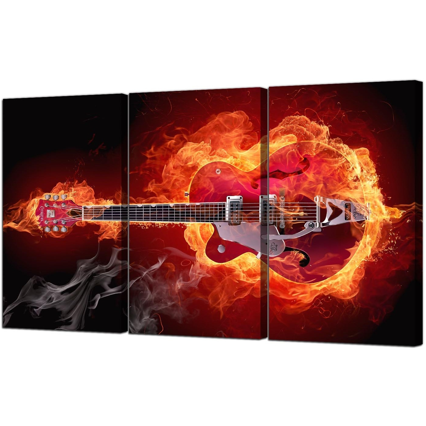 Fiery Guitar Canvas Pictures Three Part For Your Boys Bedroom Pertaining To Current Guitar Canvas Wall Art (View 4 of 15)