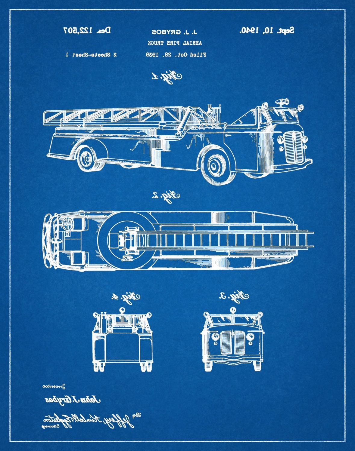 Fire Truck Wall Art With Newest Patent Aerial Fire Truck 1940 Designj.j (View 7 of 15)