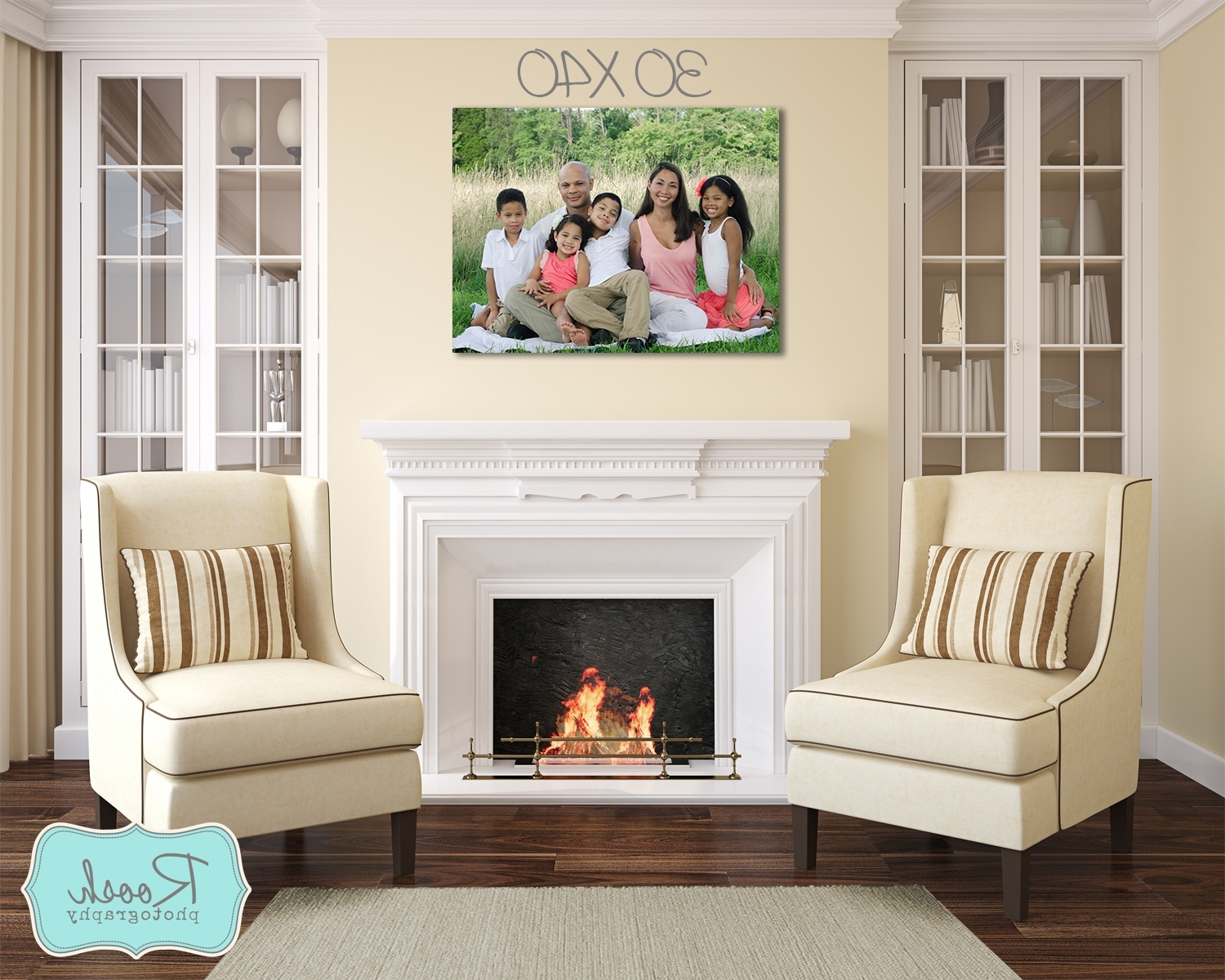 Fireplace Wall Art Throughout Trendy How A 30X40 Wall Portrait Would Look Hung Over Your Fireplace (View 4 of 15)