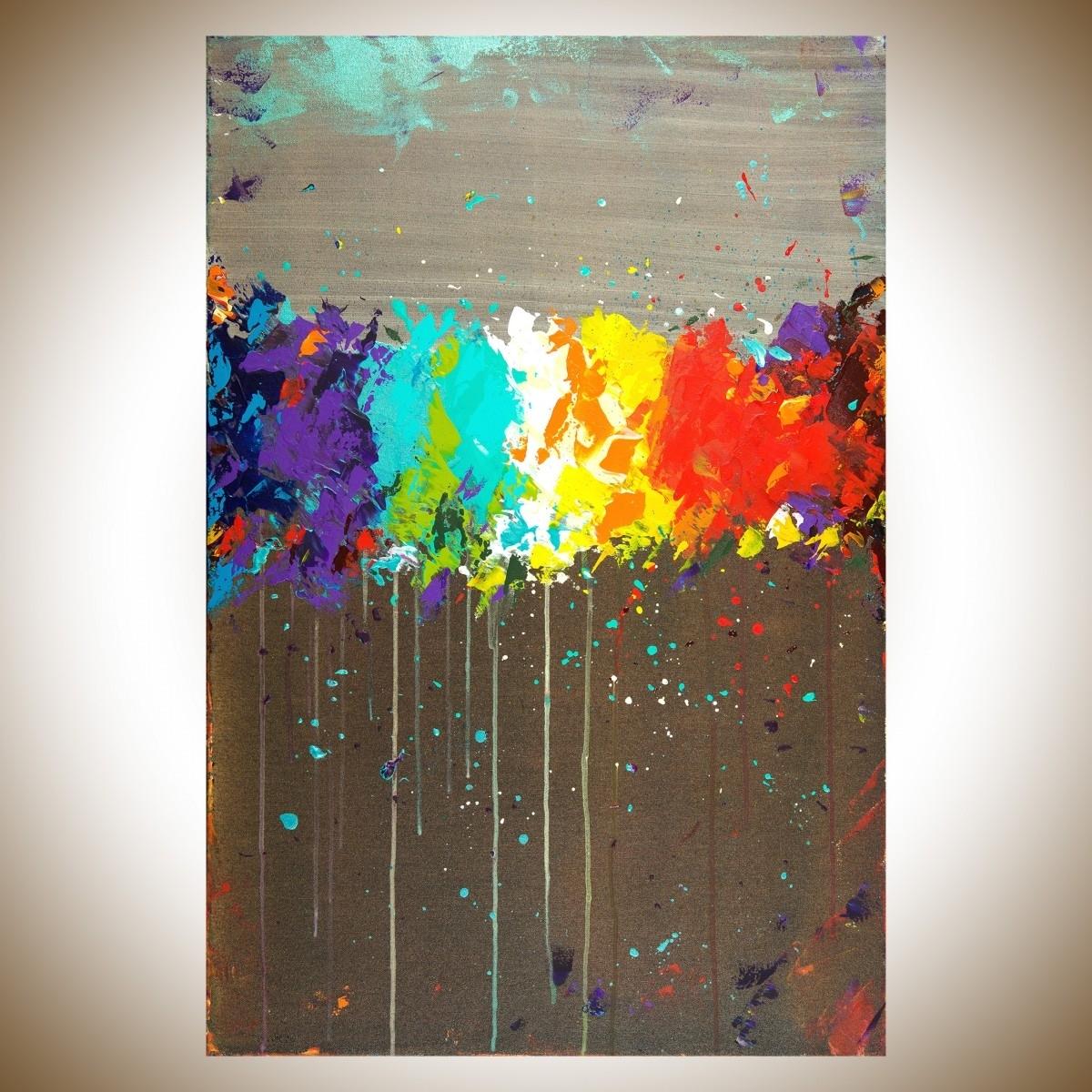 "Fireworksqiqigallery 36""x24"" Original Modern Abstract Wall Regarding 2017 Modern Abstract Wall Art (View 9 of 15)"