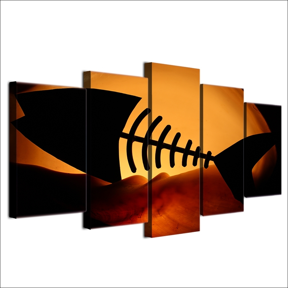 Fish Bone Wall Art With Current Hd Printed Home Decor 5 Panel Painting Canvas Wall Art Frame (View 5 of 15)